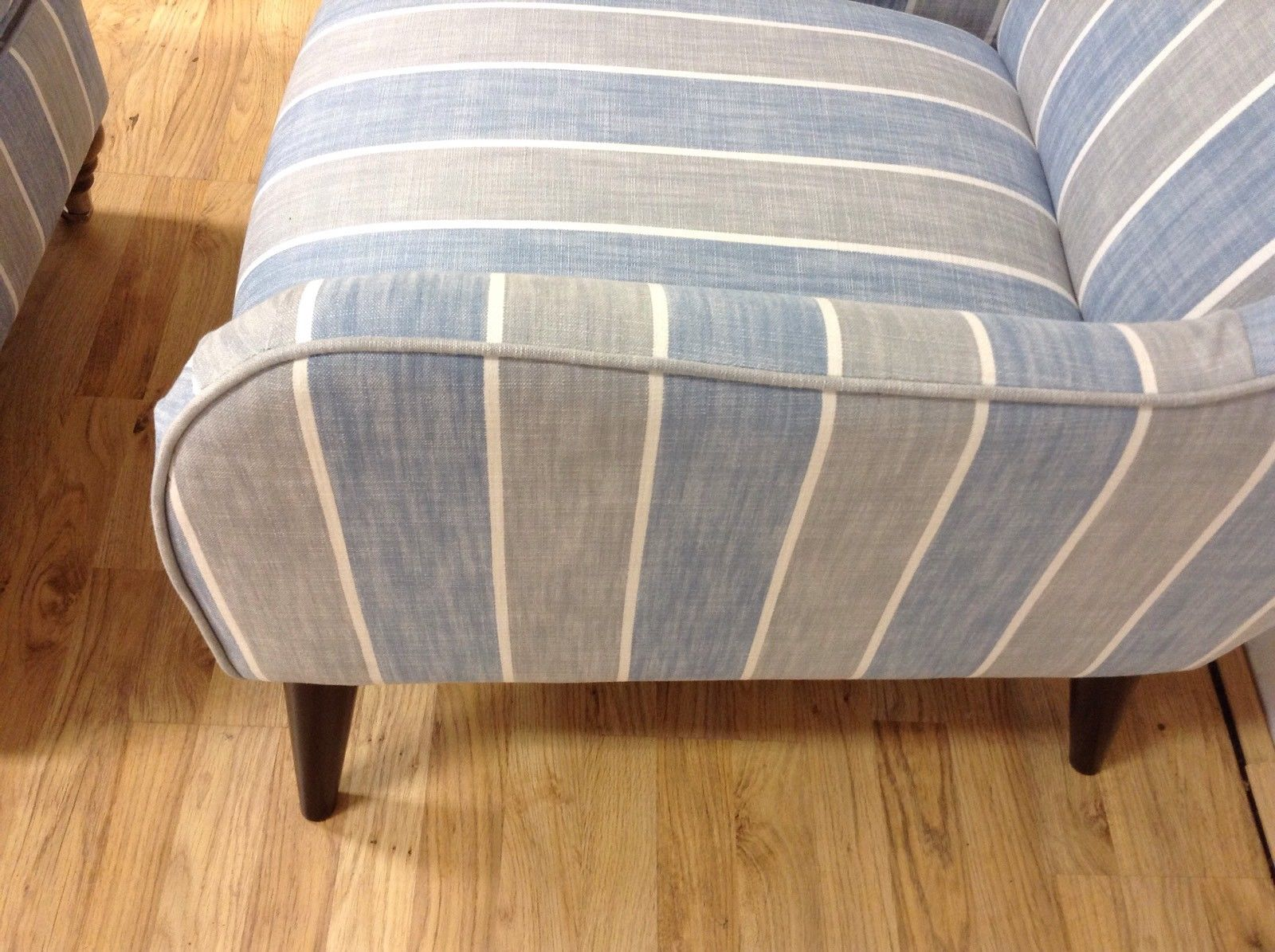 Beige Accent Chairs With Blue Stripes.Darcey Accent Chair In Blue Grey Striped Fabric