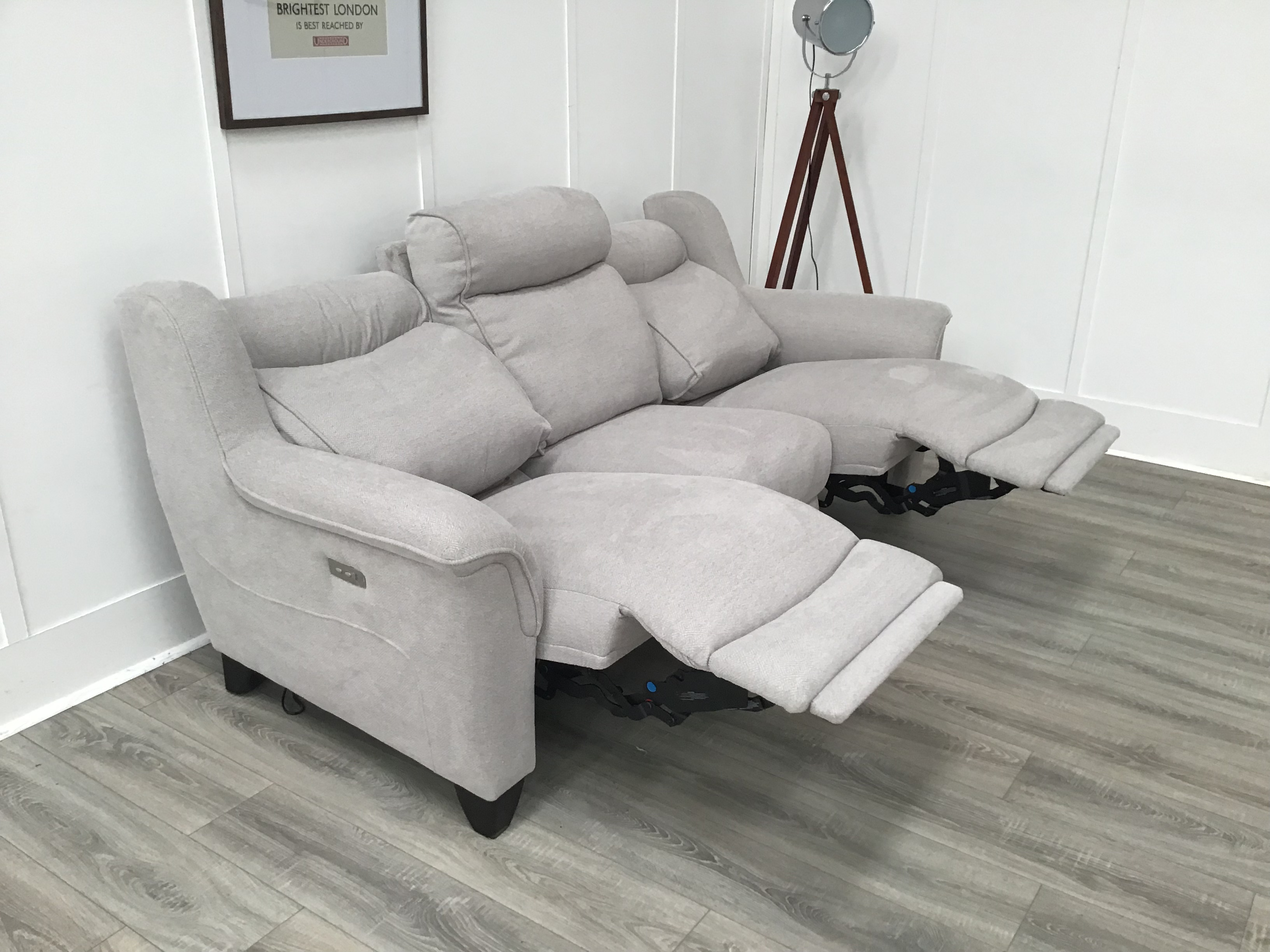 Parker Knoll 3 Seat Seater Electric Reclining Sofa Fabric